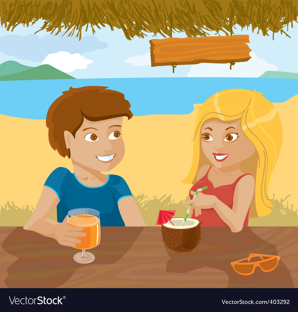 Flirting couple vector | Price: 1 Credit (USD $1)