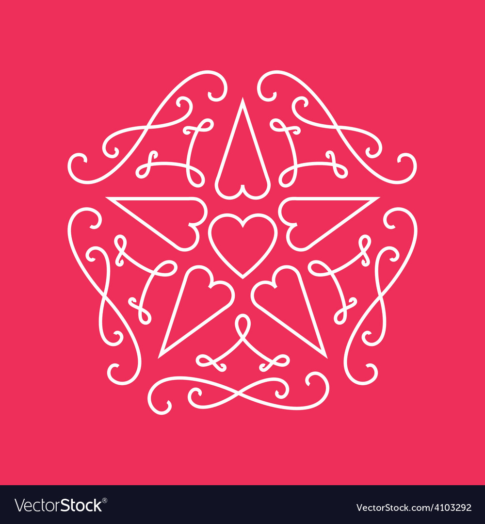 Floral monograms design template with star and vector | Price: 1 Credit (USD $1)