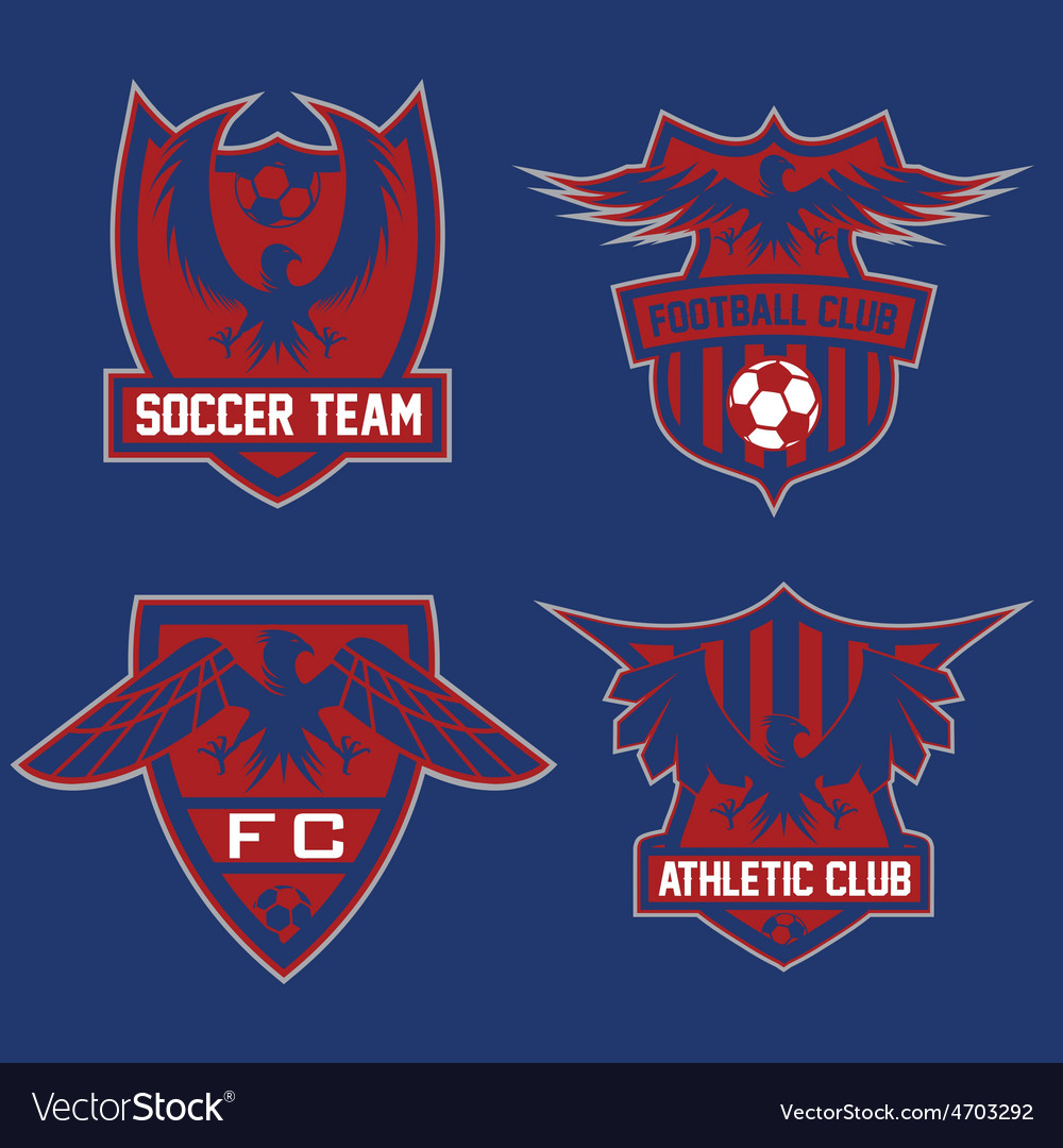 Football team crests set with eagles design vector   Price: 1 Credit (USD $1)