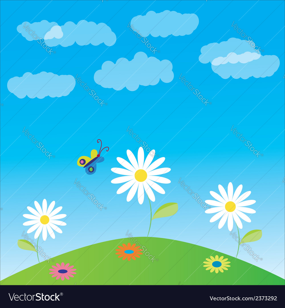 Glade flowers and butterfly vector | Price: 1 Credit (USD $1)