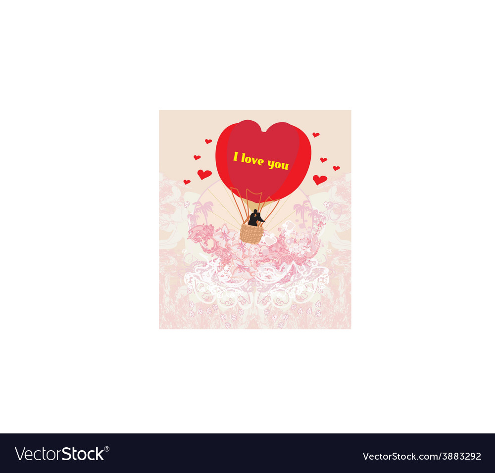 Hot air balloon - valentine card vector | Price: 1 Credit (USD $1)