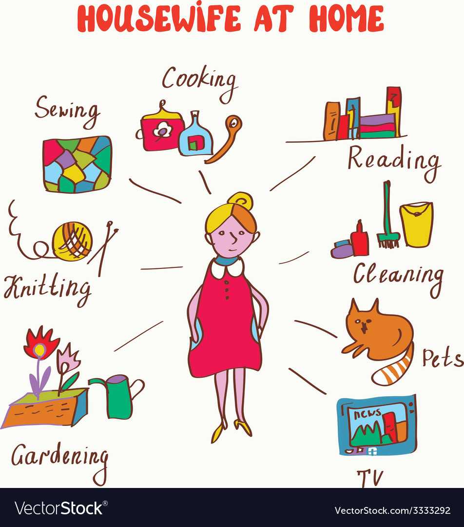 Household interests of woman - infographics vector | Price: 1 Credit (USD $1)