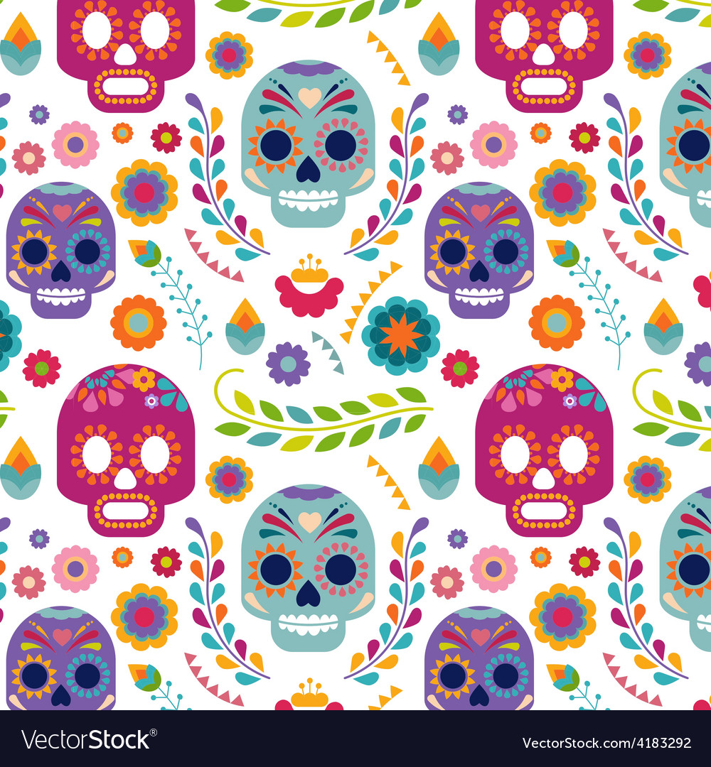 Mexico pattern with skull and flowers vector | Price: 1 Credit (USD $1)