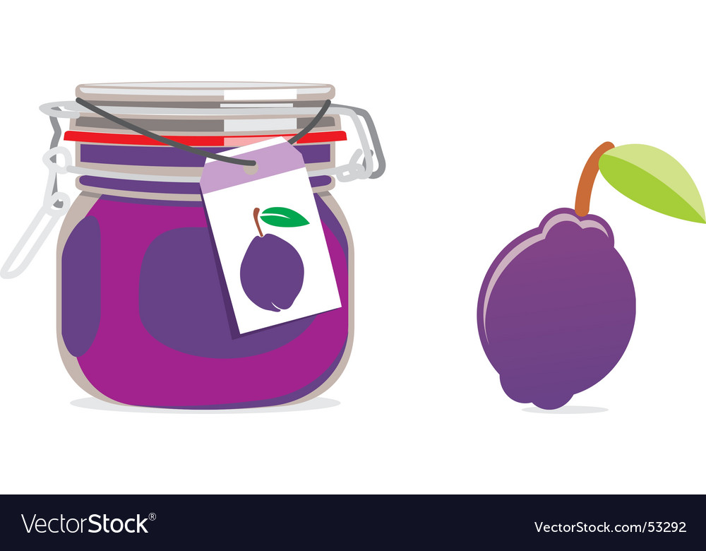 Plum jam jar and fruit vector | Price: 1 Credit (USD $1)
