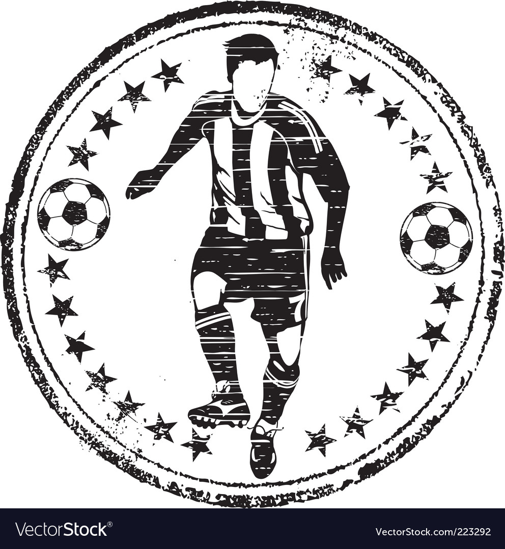 Soccer player stamp vector | Price: 1 Credit (USD $1)
