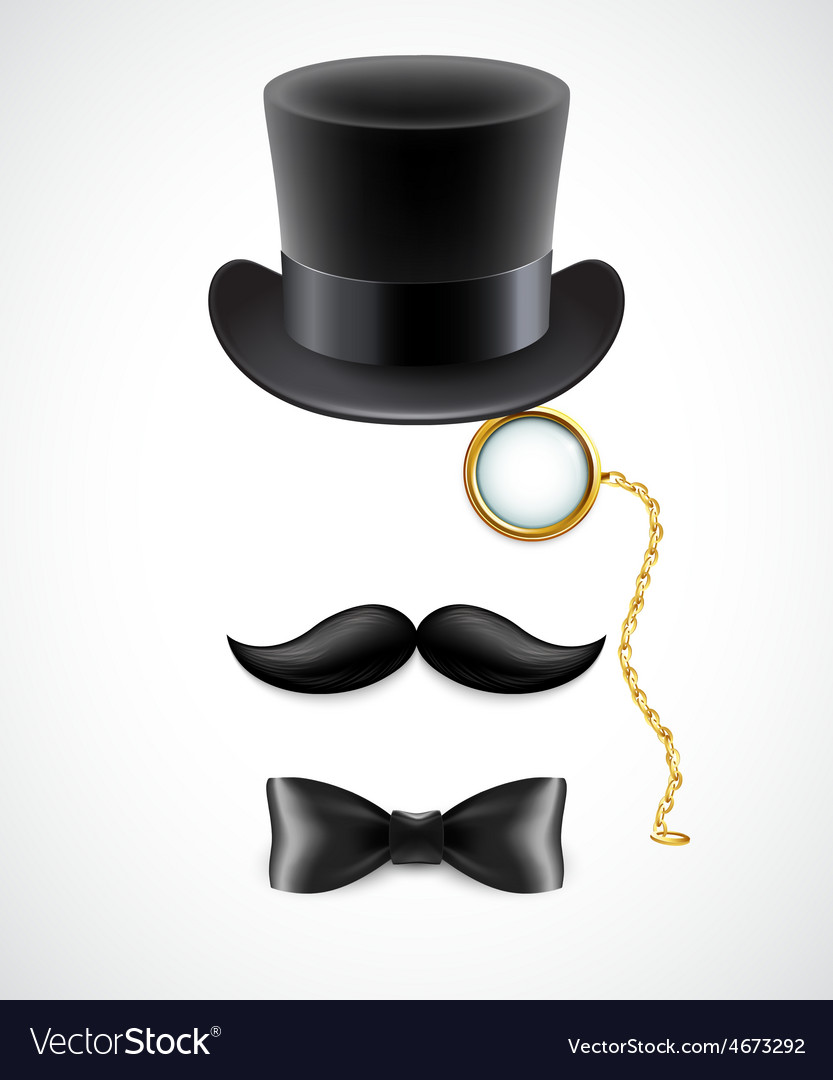 Vintage silhouette of top hat mustaches monocle vector | Price: 3 Credit (USD $3)