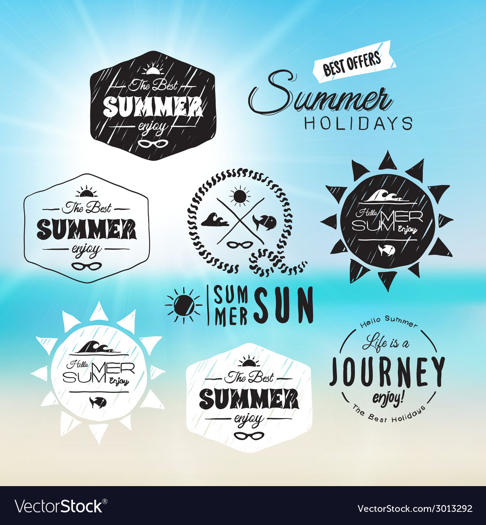 Vintage summer holidays typography design in vector | Price: 1 Credit (USD $1)