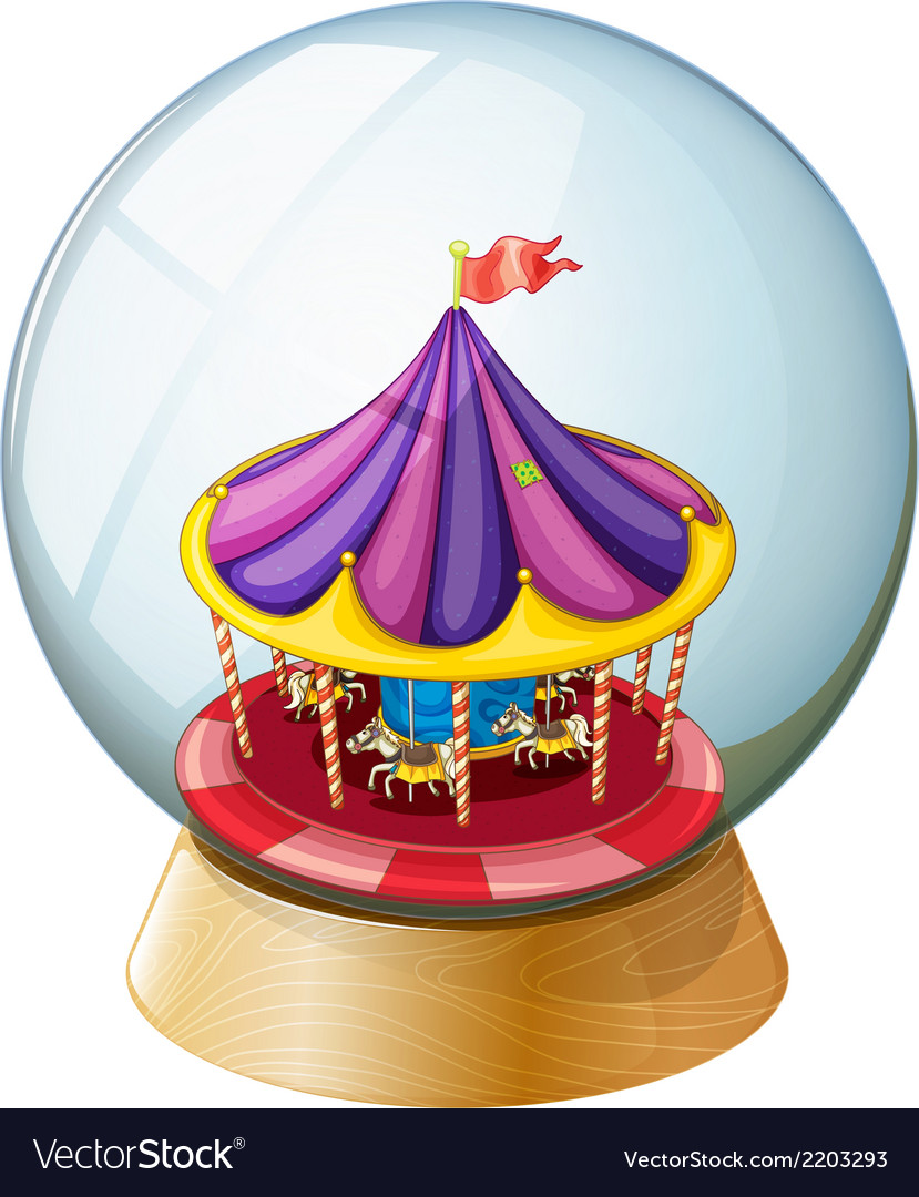 A crystal ball with a kiddie ride inside vector   Price: 1 Credit (USD $1)
