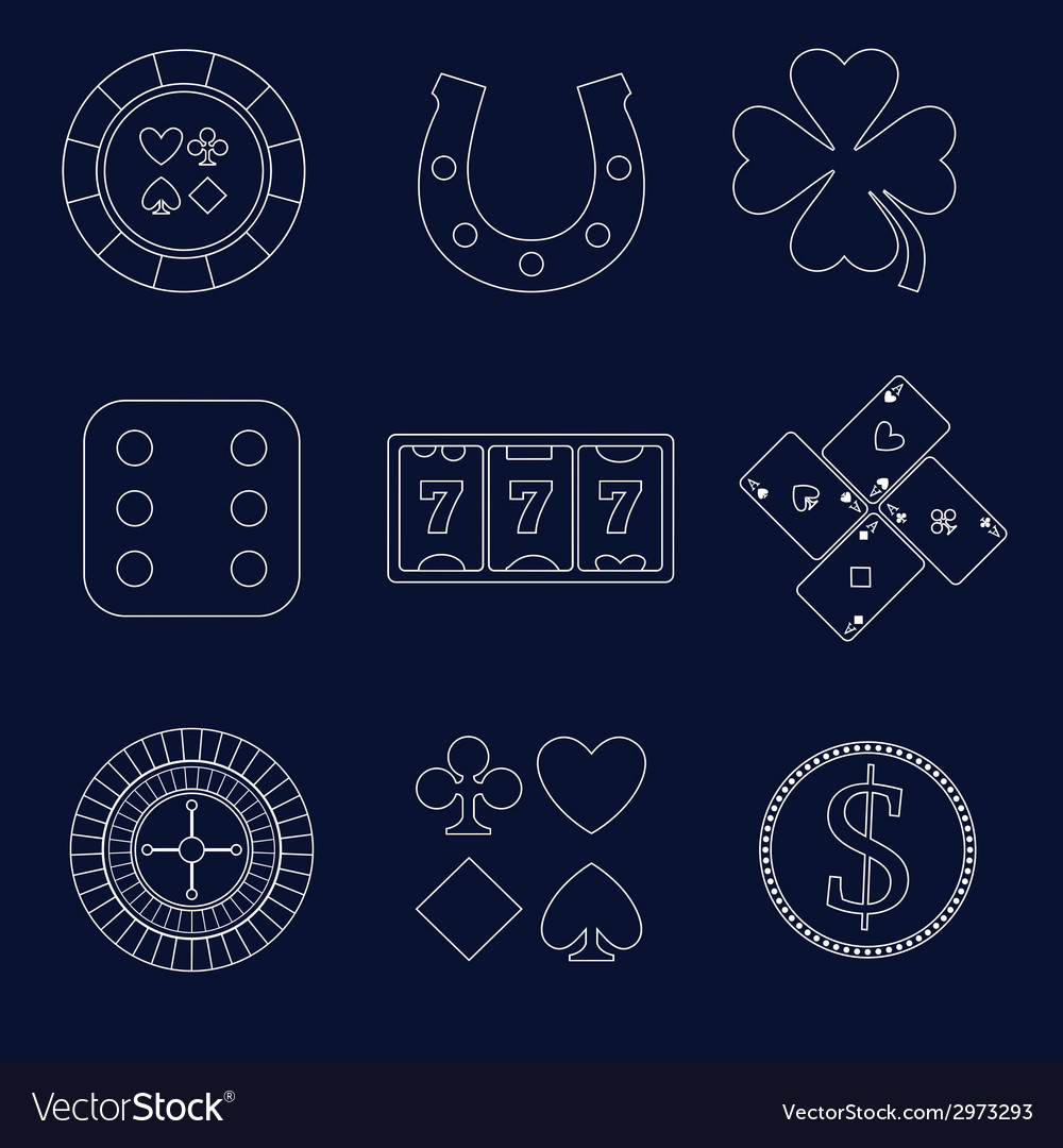 Casino outline design elements vector | Price: 1 Credit (USD $1)