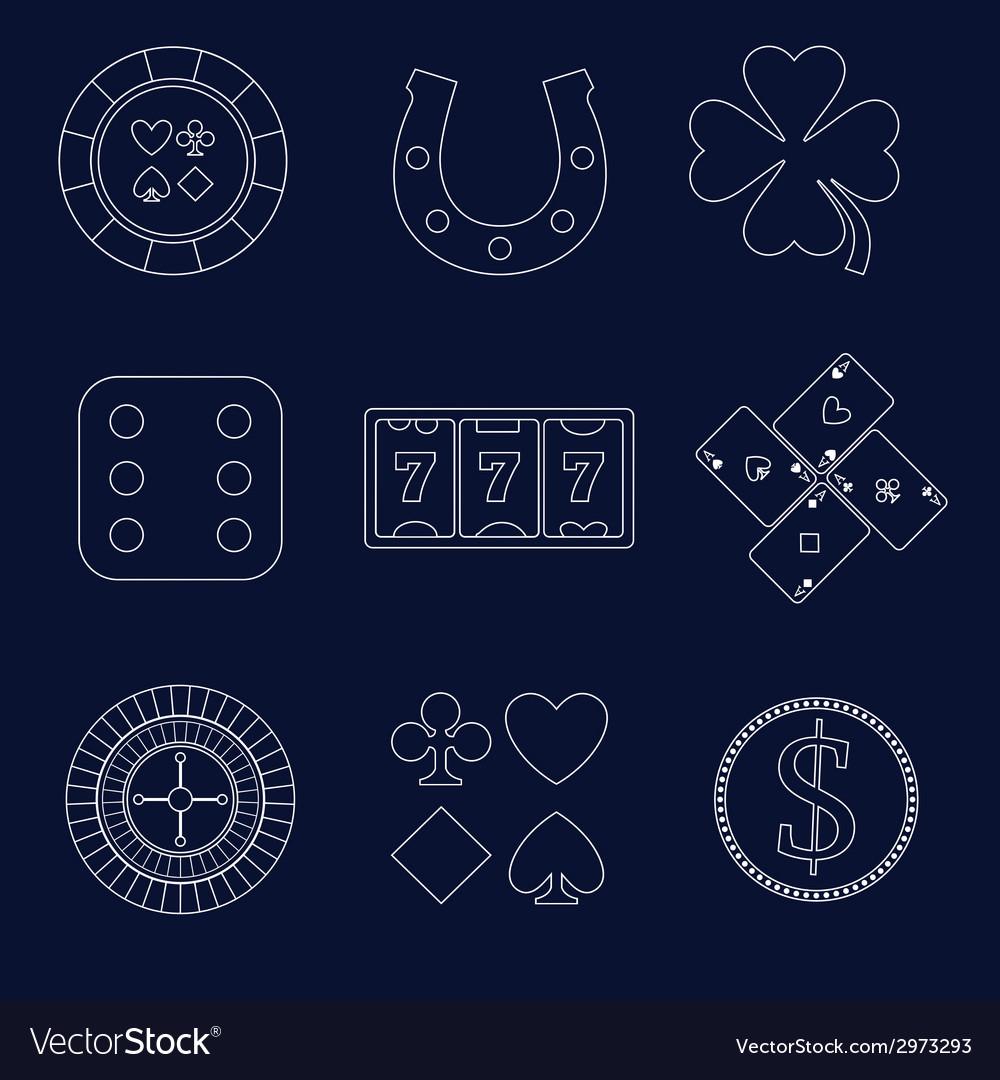 Casino outline design elements vector | Price: 1 Credit (USD $1)