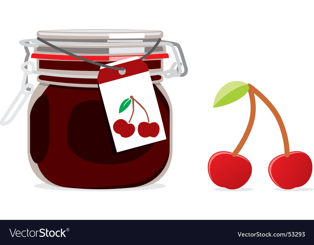 Cherry jam jar and fruit vector | Price: 1 Credit (USD $1)