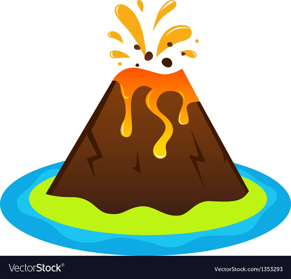 Explosing volcano island isolated on white vector | Price: 1 Credit (USD $1)