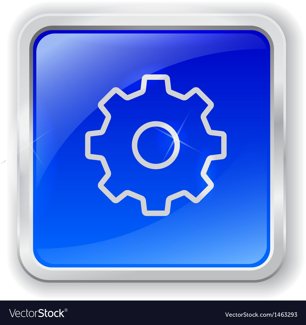 Gear icon on blue button vector | Price: 1 Credit (USD $1)