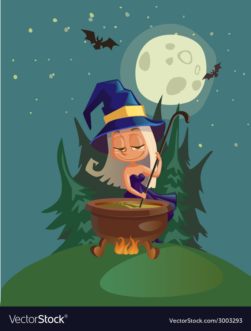 Halloween with witch and crafting pot vector | Price: 3 Credit (USD $3)