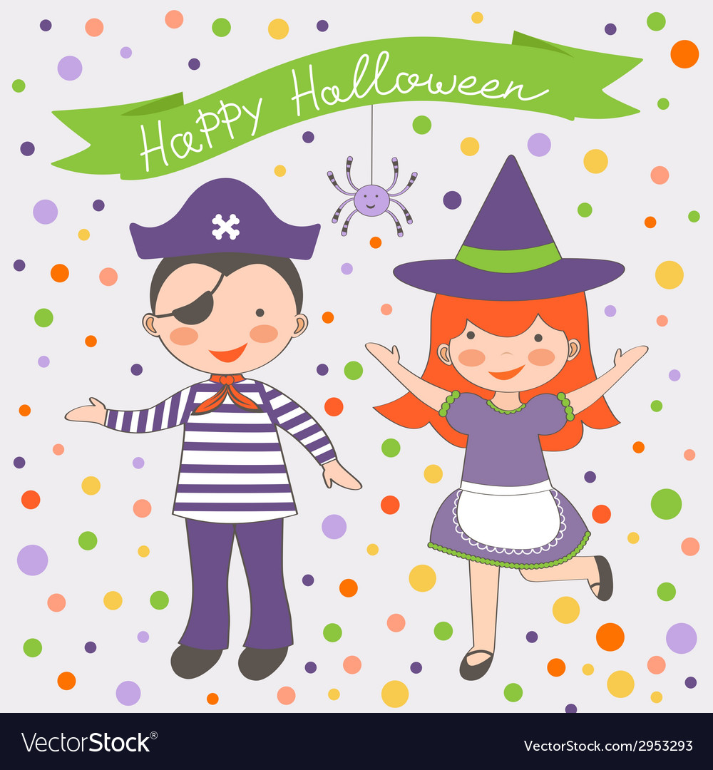 Happy halloween kids couple vector | Price: 1 Credit (USD $1)