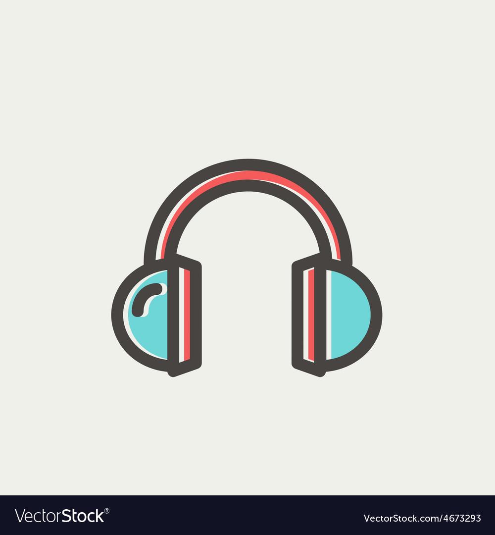 Headphone thin line icon vector | Price: 1 Credit (USD $1)