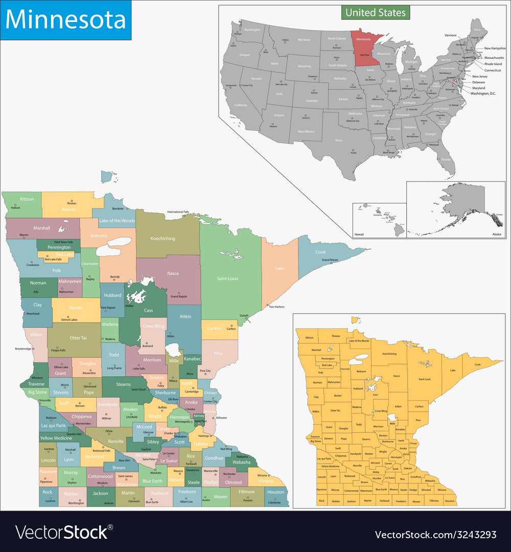 Minnesota map vector | Price: 1 Credit (USD $1)