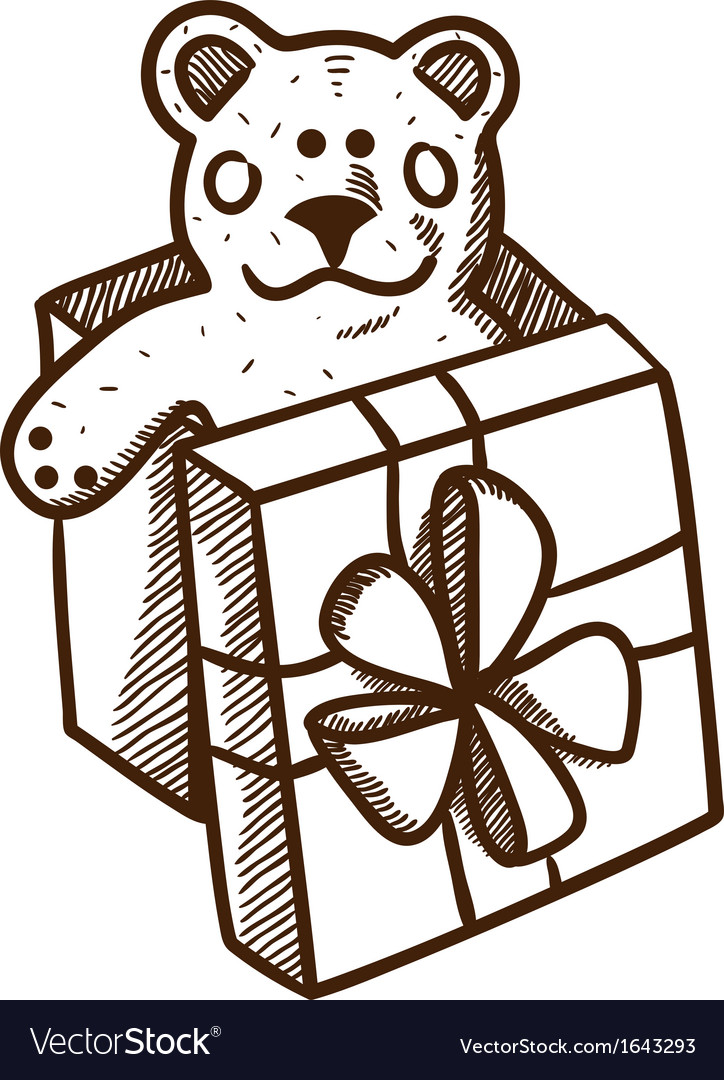 Present box with teddy bear vector | Price: 1 Credit (USD $1)