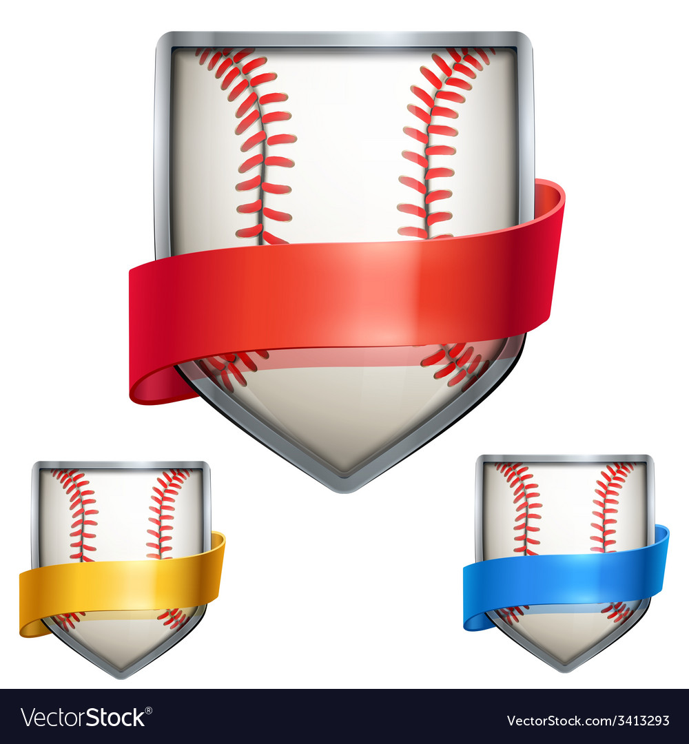 Set of bright shield in the baseball ball inside vector | Price: 1 Credit (USD $1)