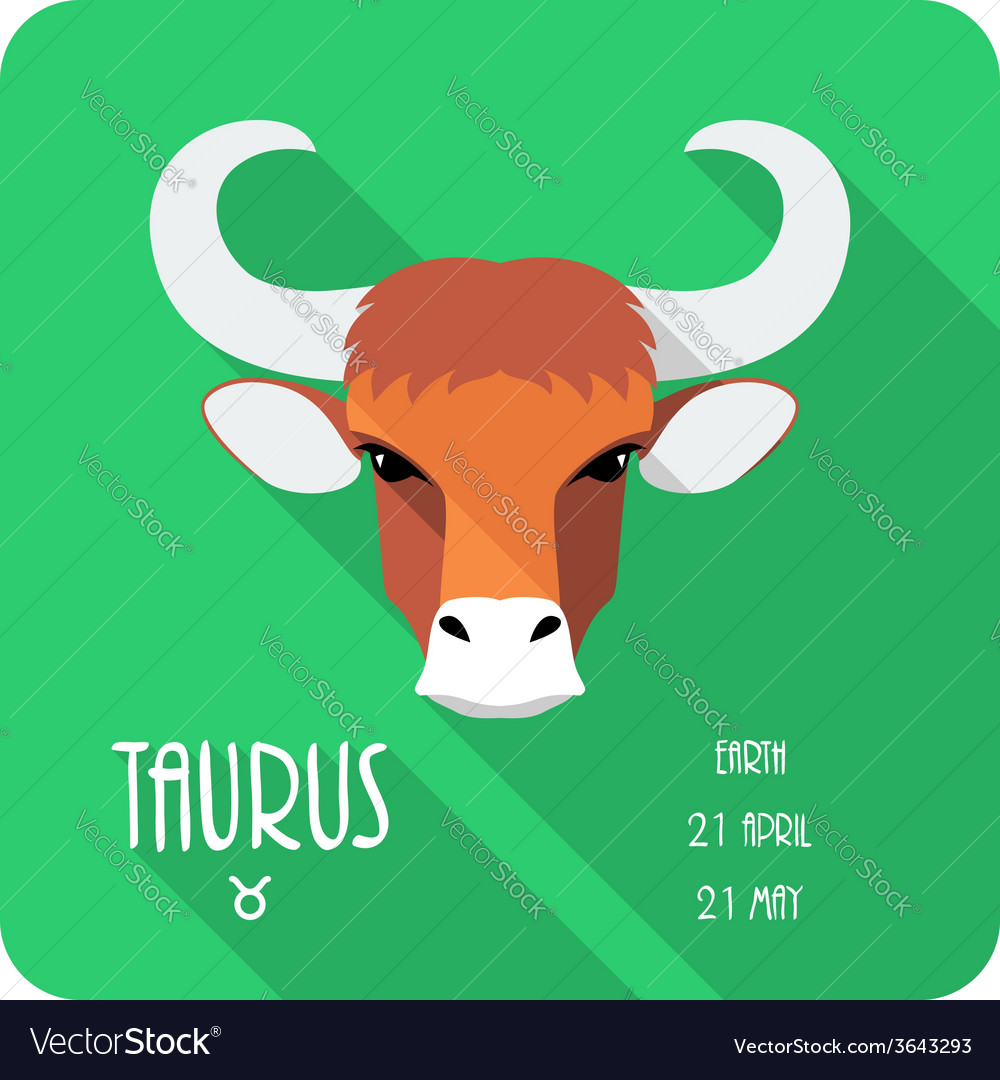 Zodiac sign taurus icon flat design vector | Price: 1 Credit (USD $1)