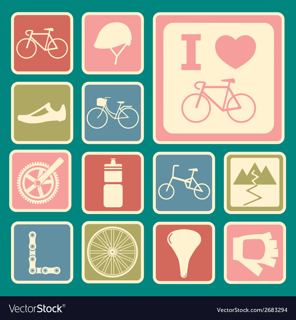 Bicycle icons vector | Price: 1 Credit (USD $1)