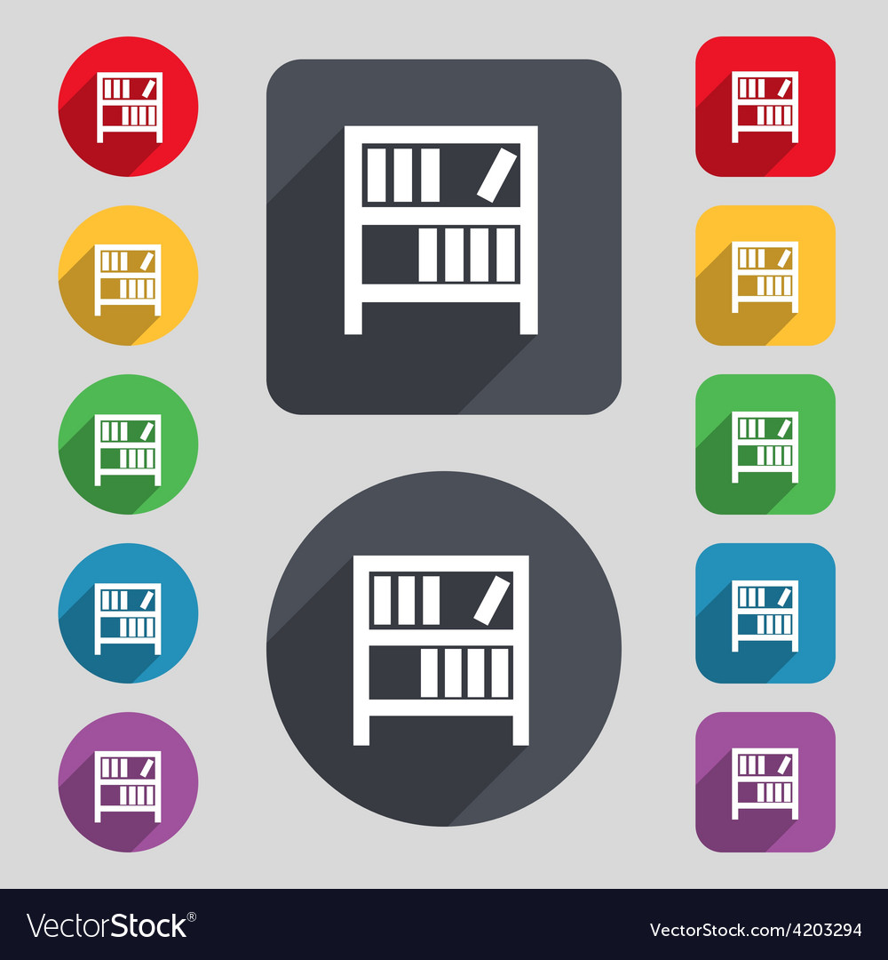Bookshelf icon sign a set of 12 colored buttons vector   Price: 1 Credit (USD $1)