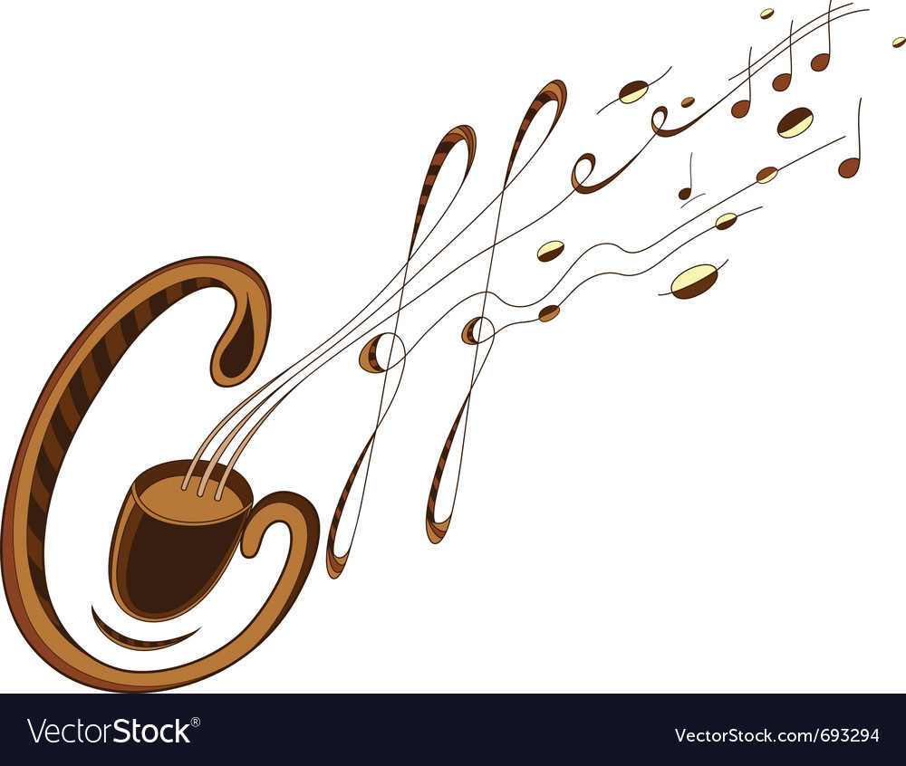 Coffee and music lettering vector | Price: 3 Credit (USD $3)