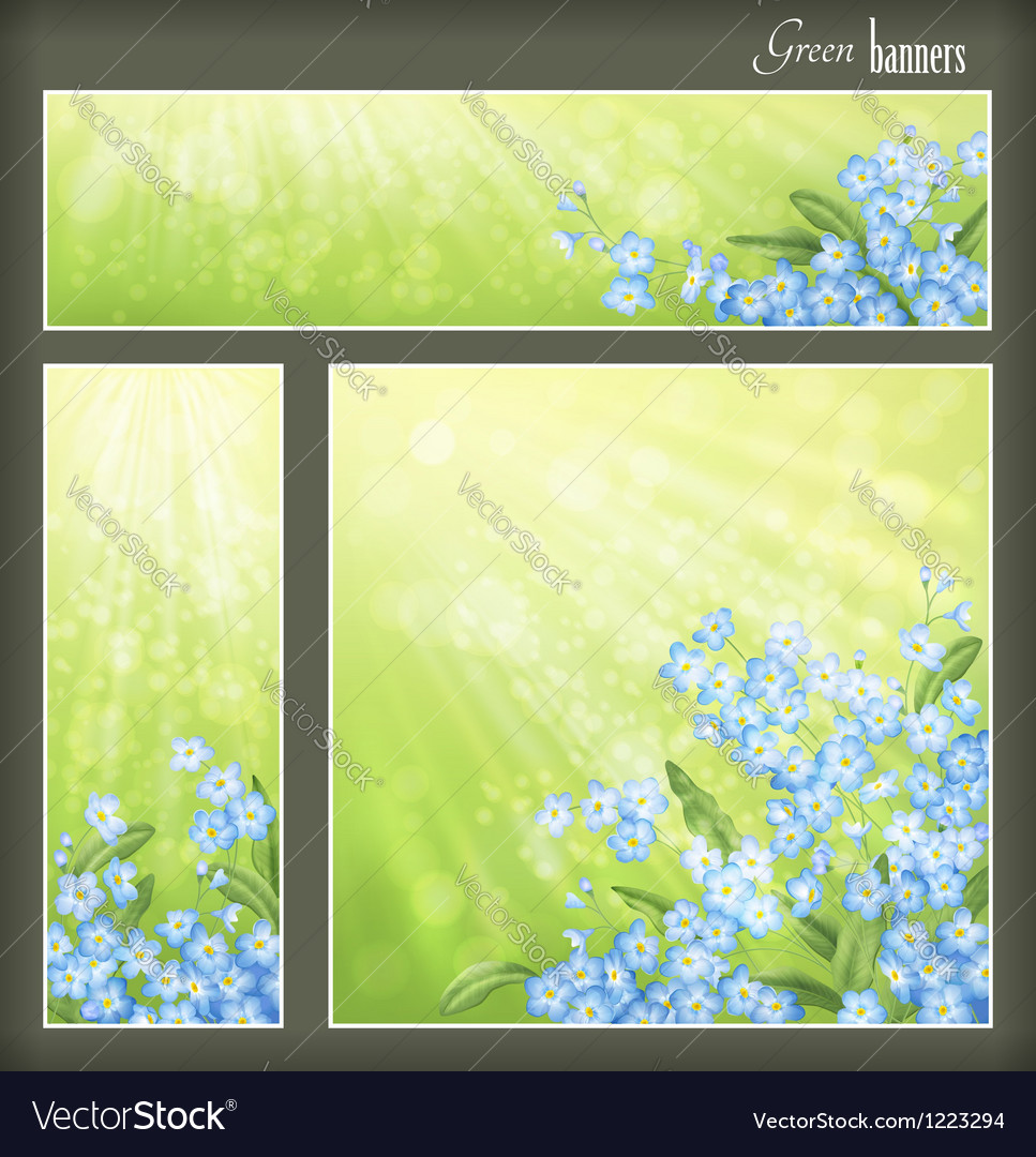 Green banners set with flowers and blurred sunrays vector | Price: 1 Credit (USD $1)