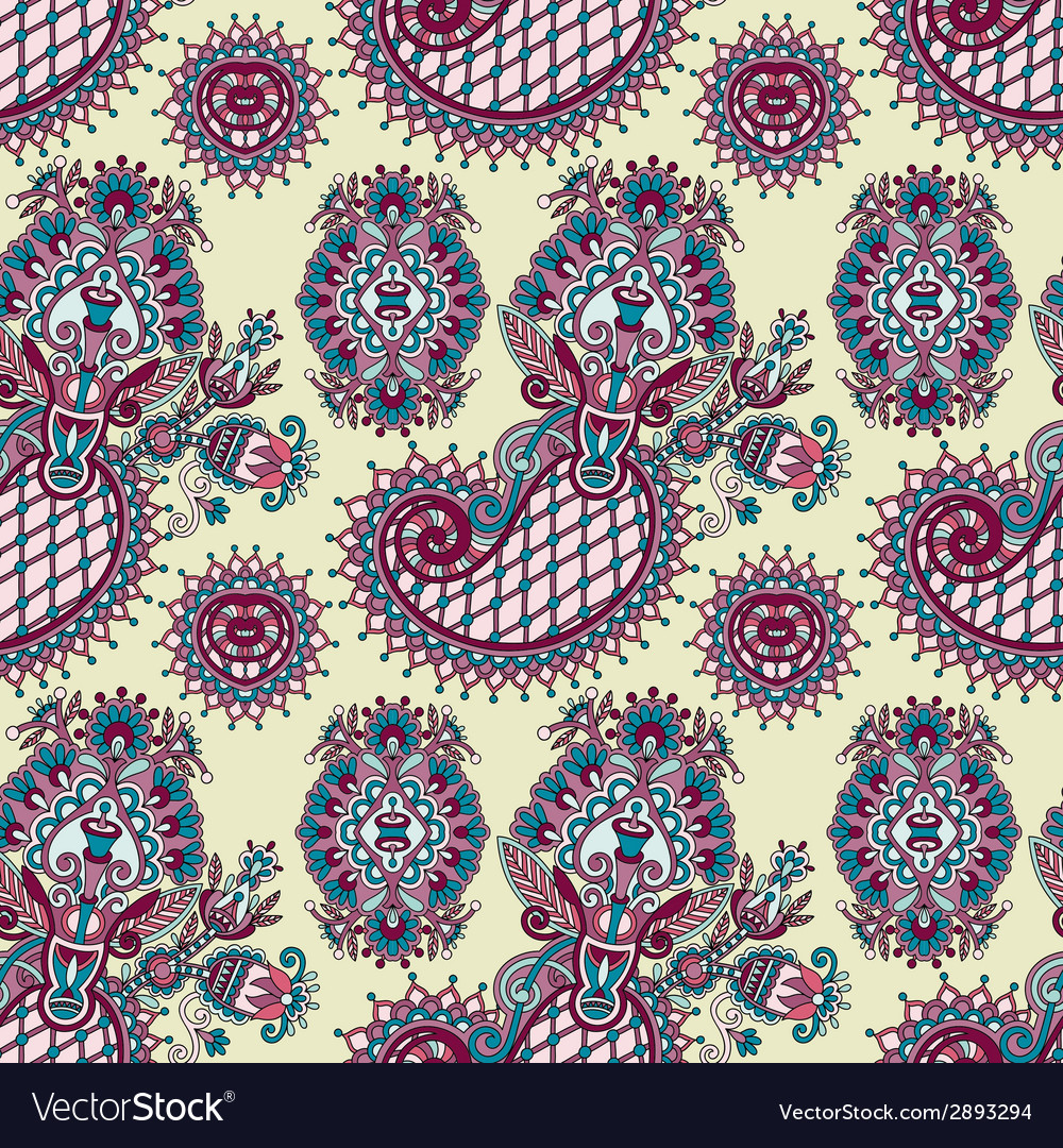 Hand drawing ornate seamless flower paisley design vector | Price: 1 Credit (USD $1)