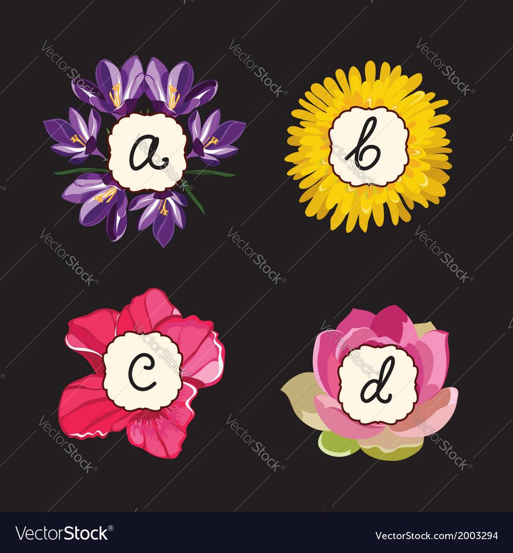 Hand drawn flower alphabet flower font vector | Price: 1 Credit (USD $1)