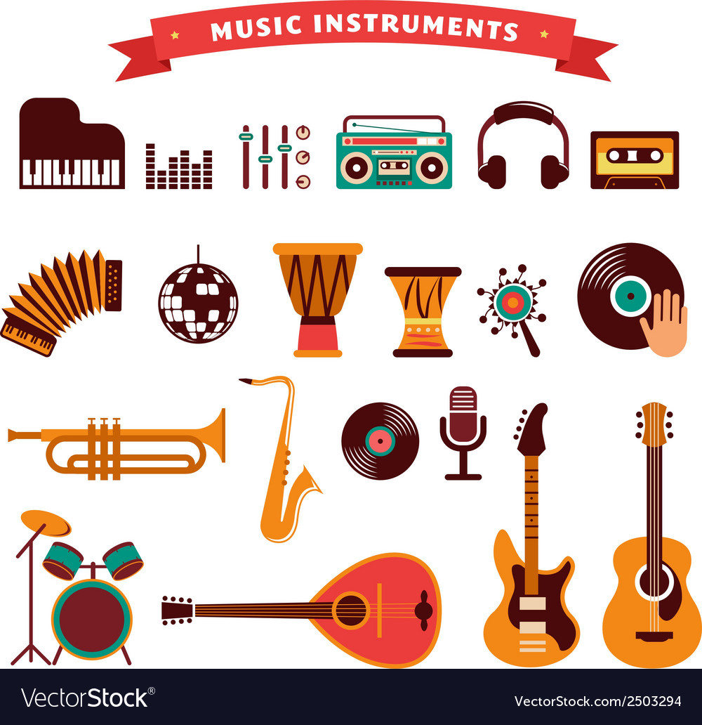 Musical instruments icons set vector | Price: 1 Credit (USD $1)