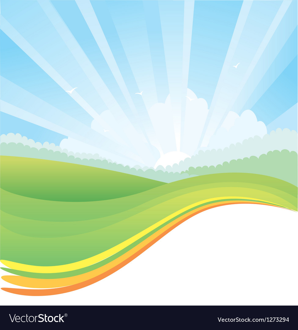 Nature landscape with sunlight vector | Price: 1 Credit (USD $1)