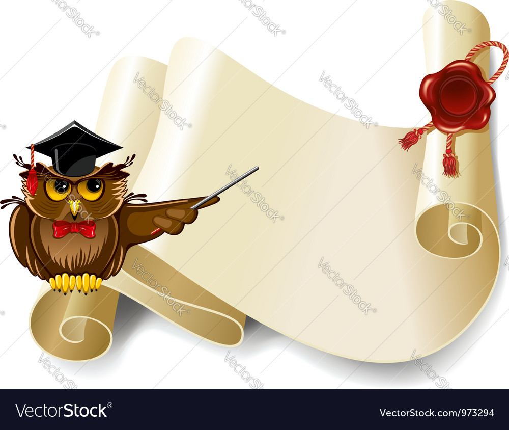 Owl and manuscript vector | Price: 1 Credit (USD $1)