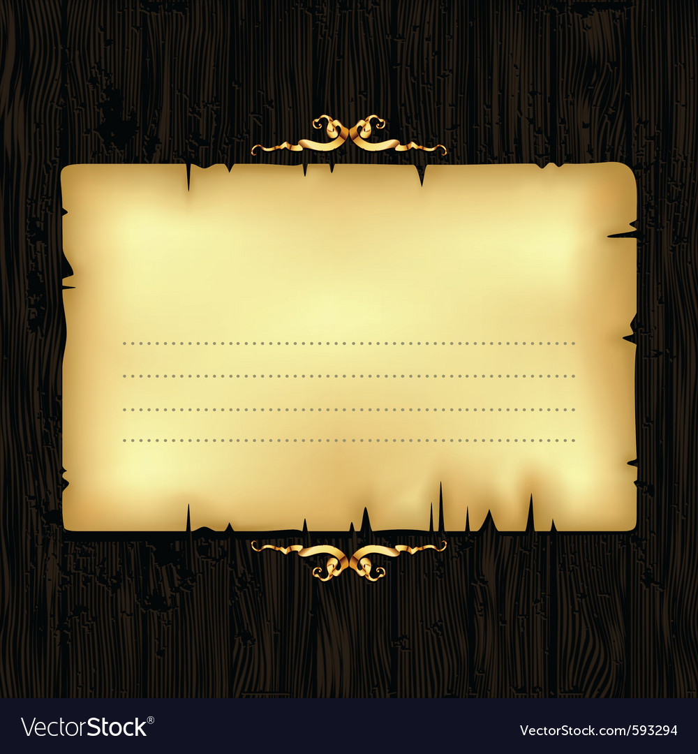 Paper with wood and ornate frame vector | Price: 1 Credit (USD $1)