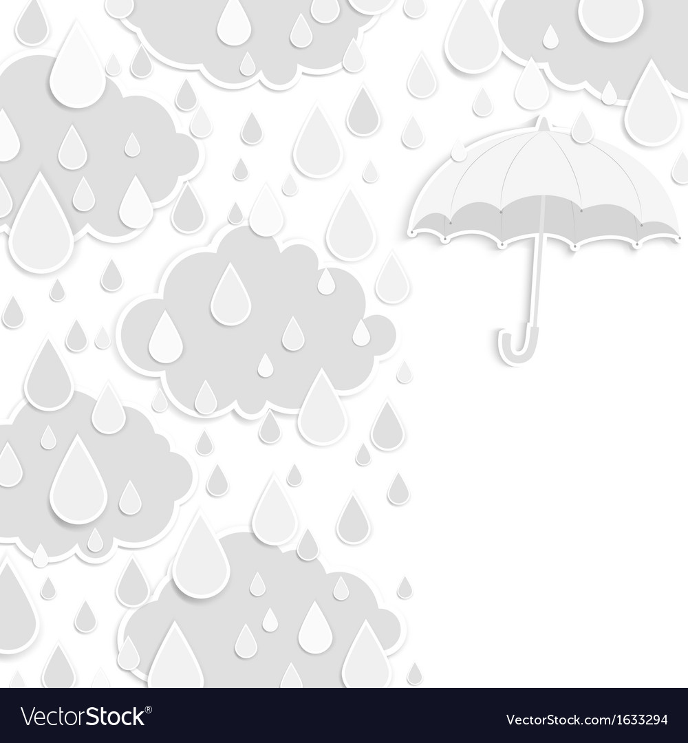 Rainy season background with raindrops and clouds vector | Price: 1 Credit (USD $1)