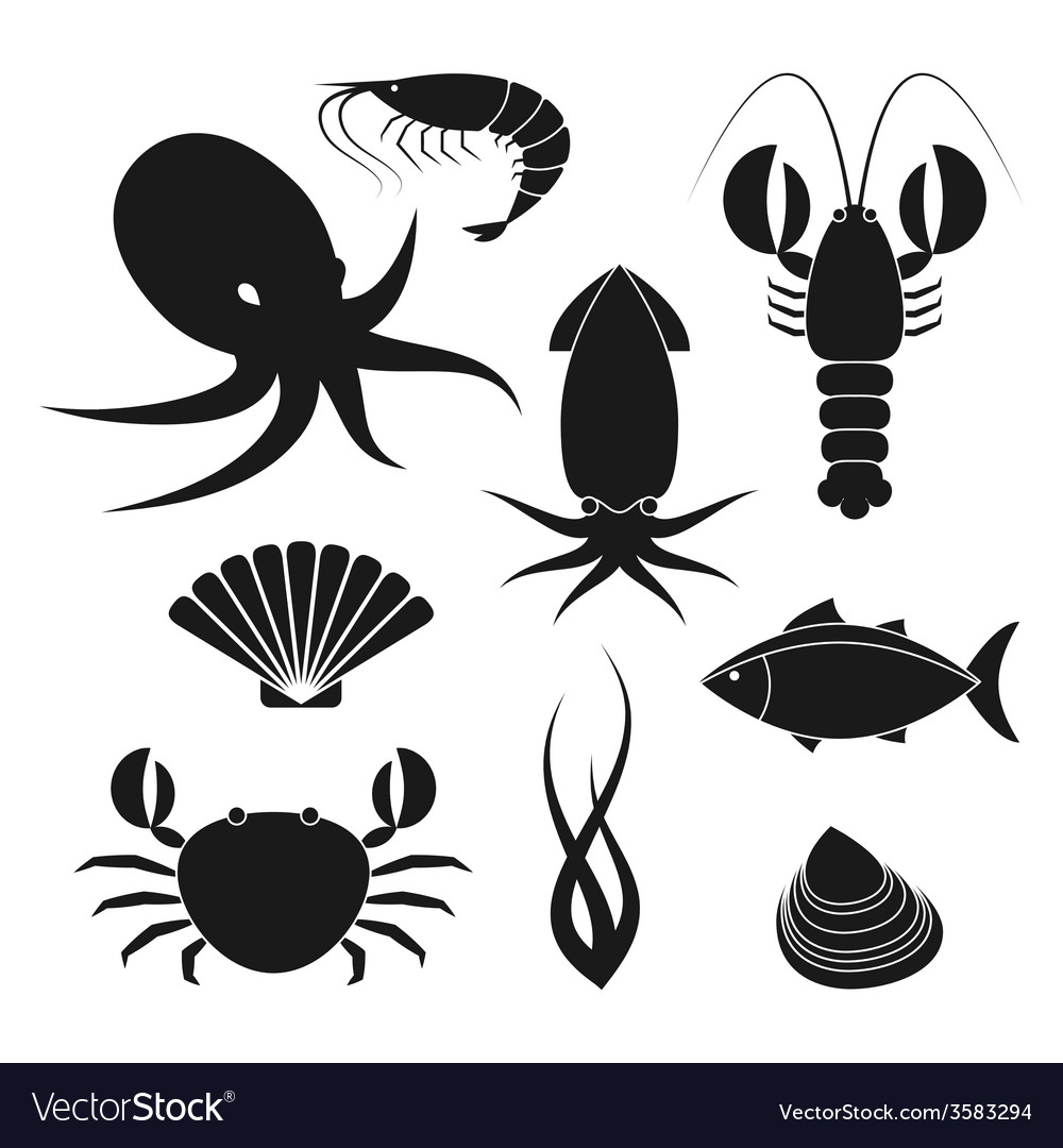 Seafood icons set vector | Price: 1 Credit (USD $1)