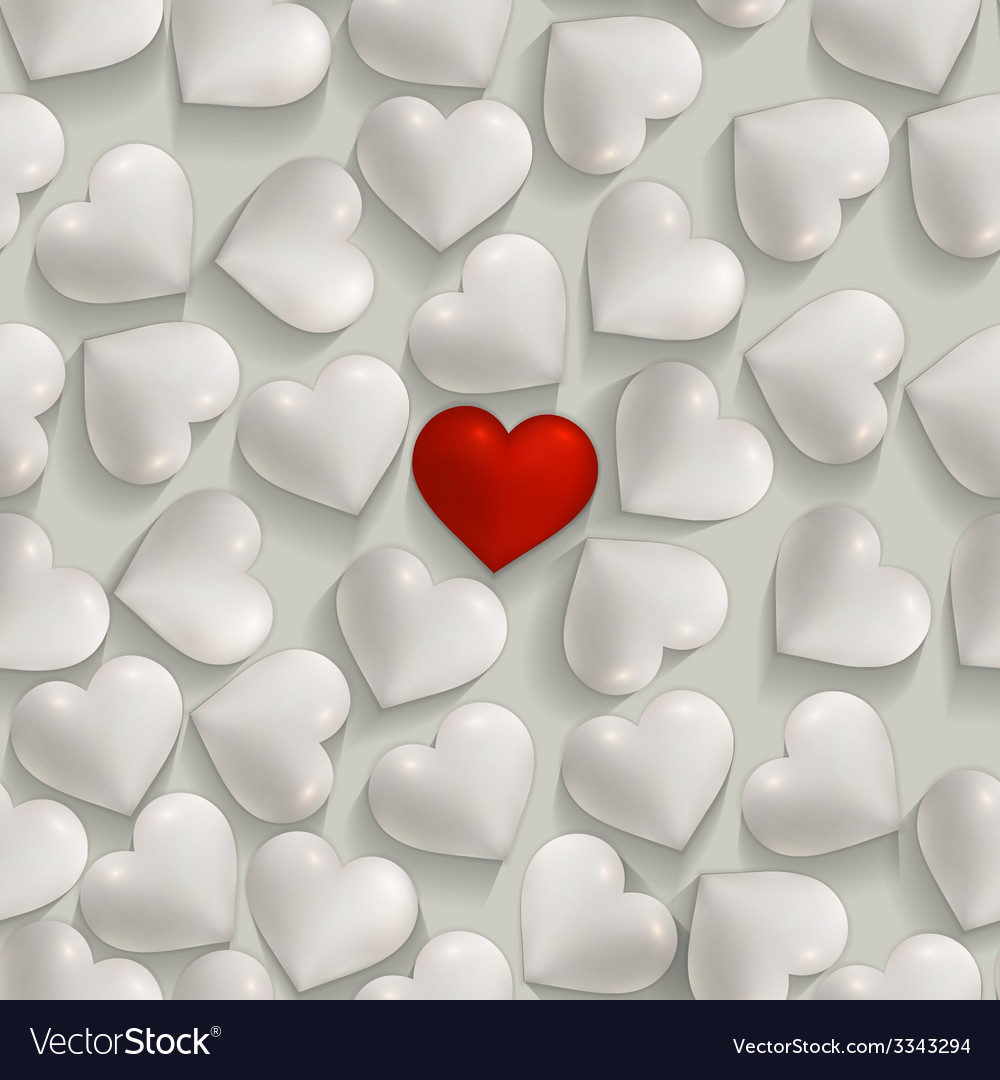 Seamless romantic white and red hearts valentines vector | Price: 1 Credit (USD $1)