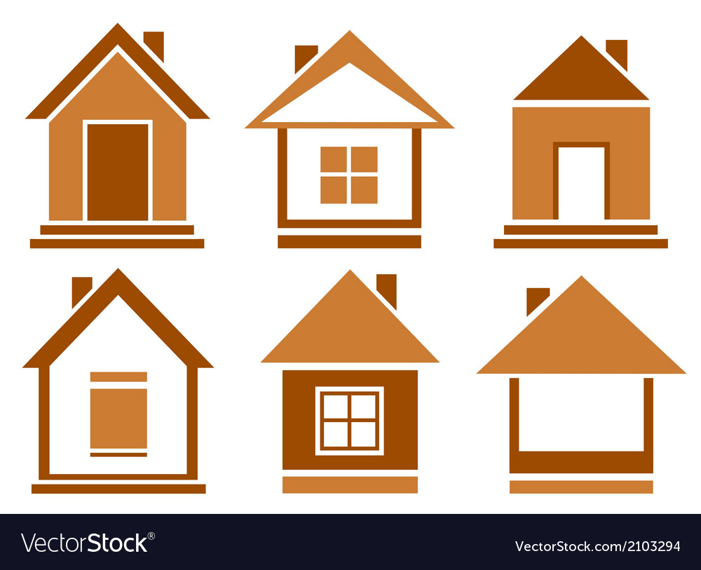 Set brown isolated house vector | Price: 1 Credit (USD $1)