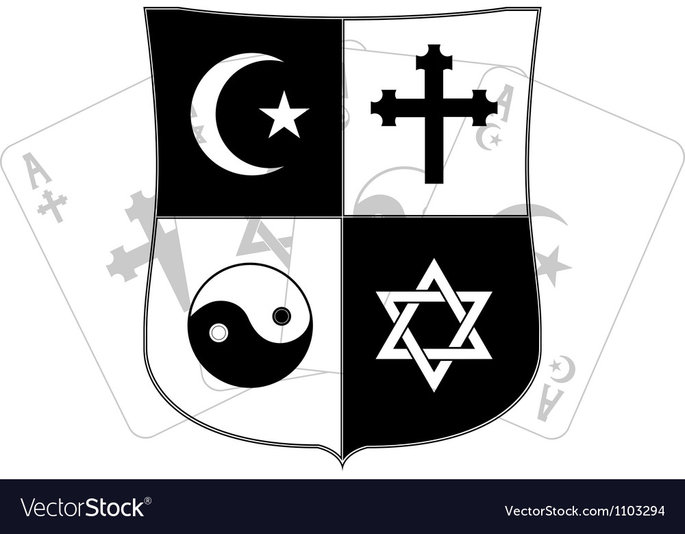 Stencil of shield and religious symbols vector | Price: 1 Credit (USD $1)
