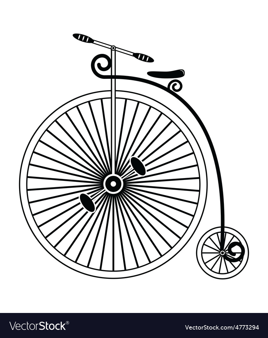 Vintage bike type 1 in black and white design vector | Price: 1 Credit (USD $1)