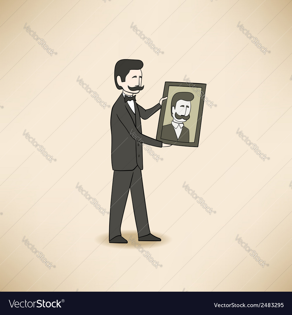 Bilionaire with his portrait vector | Price: 1 Credit (USD $1)