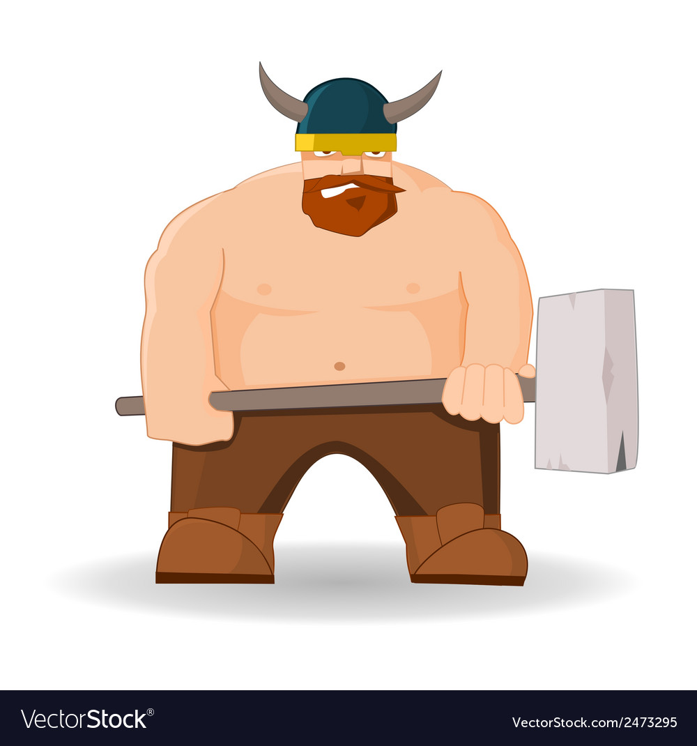 Cartoon viking with hammer vector | Price: 1 Credit (USD $1)