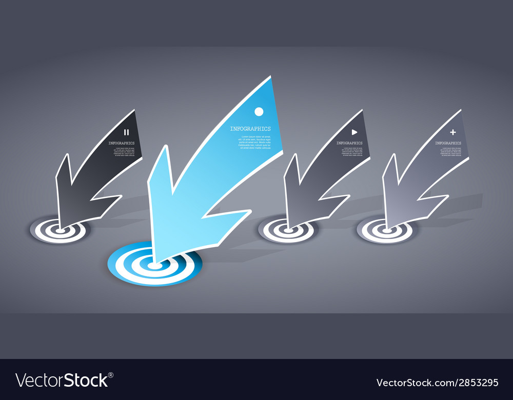 Four colored blue and grey paper arrows on dark vector | Price: 1 Credit (USD $1)
