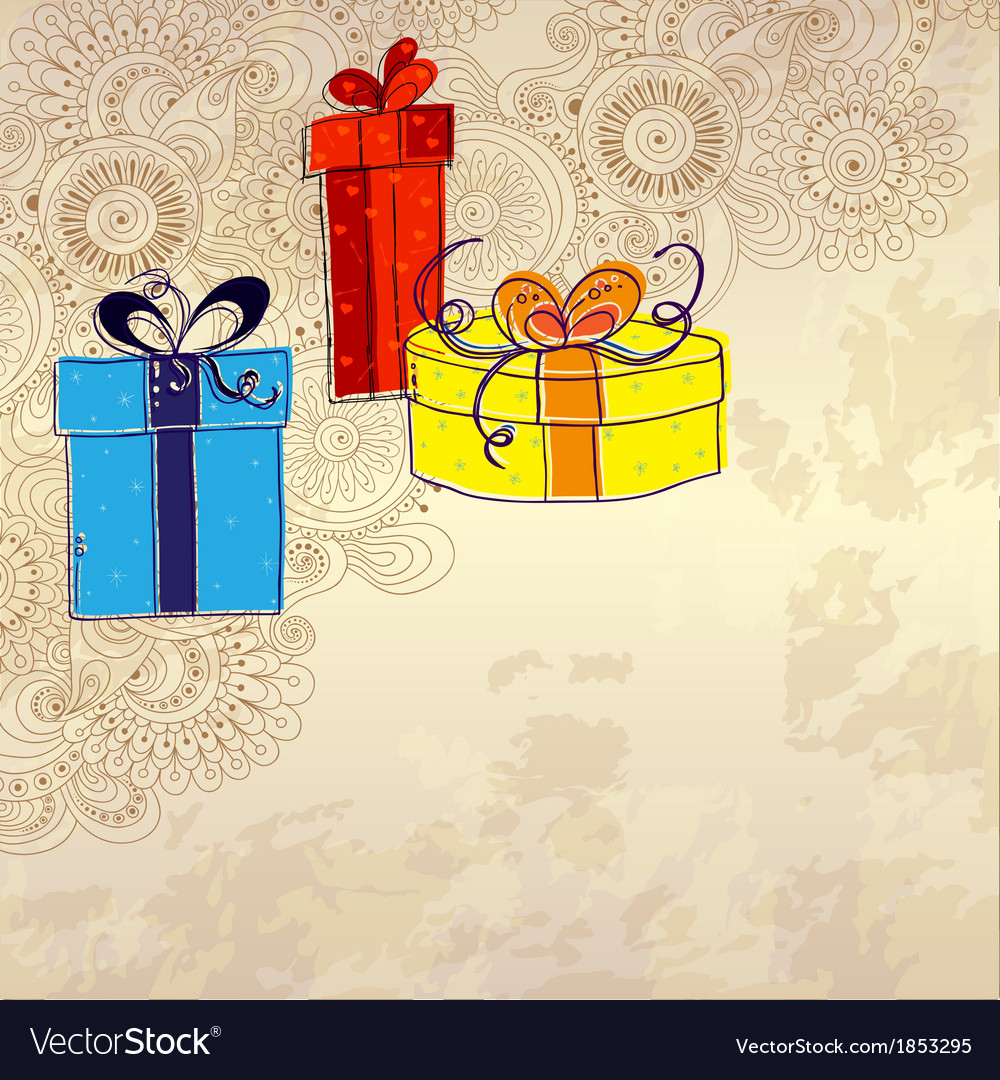 Holiday card with three gift boxes with bows on vector | Price: 1 Credit (USD $1)