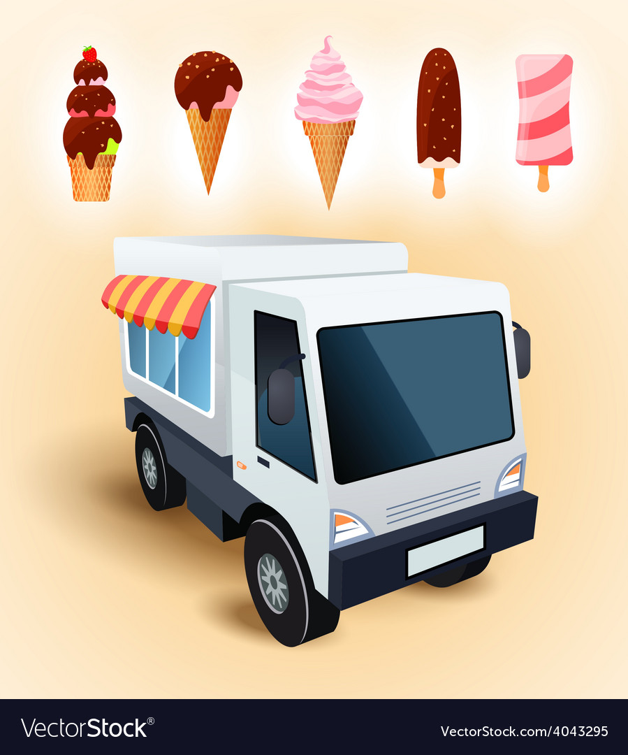 Ice cream truck vector | Price: 3 Credit (USD $3)