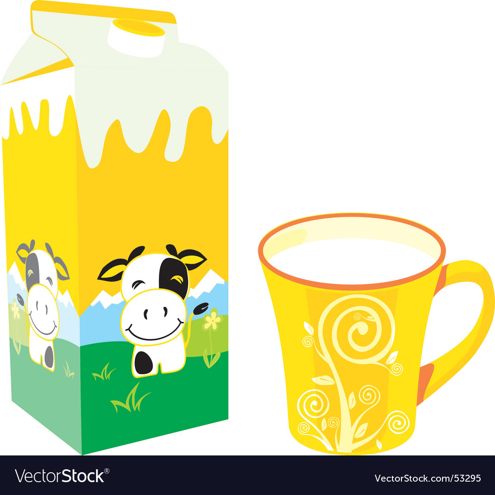 Milk carton and mug vector | Price: 1 Credit (USD $1)