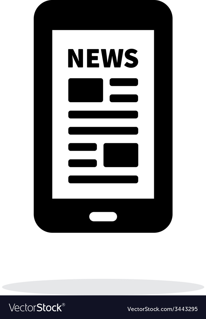 Mobile phone with news icon on white background vector | Price: 1 Credit (USD $1)
