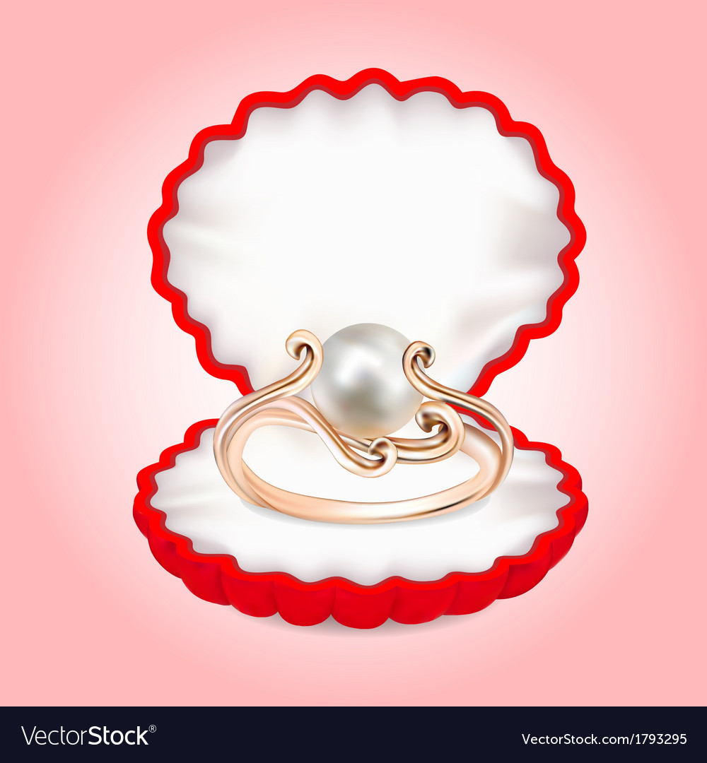 Ring with pearls in the red box vector | Price: 1 Credit (USD $1)