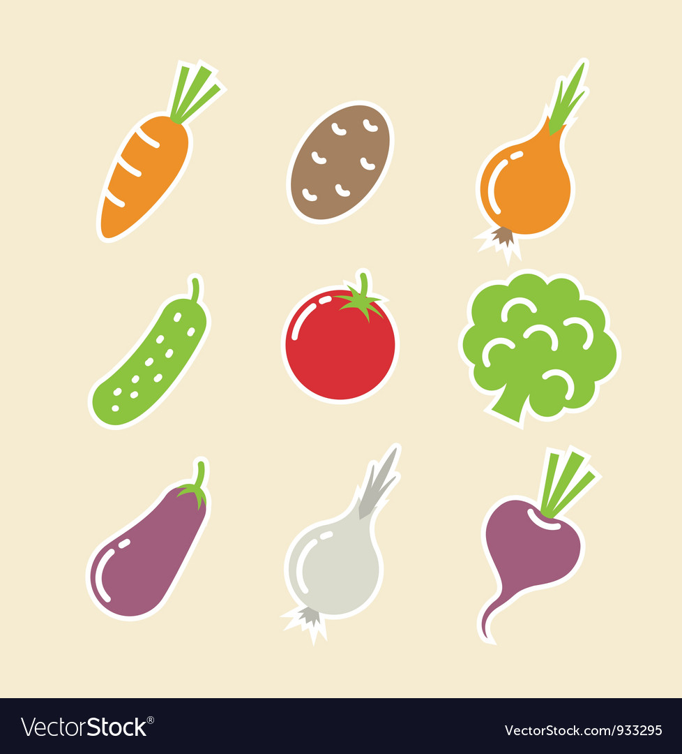 Vegetables set of icons vector | Price: 1 Credit (USD $1)