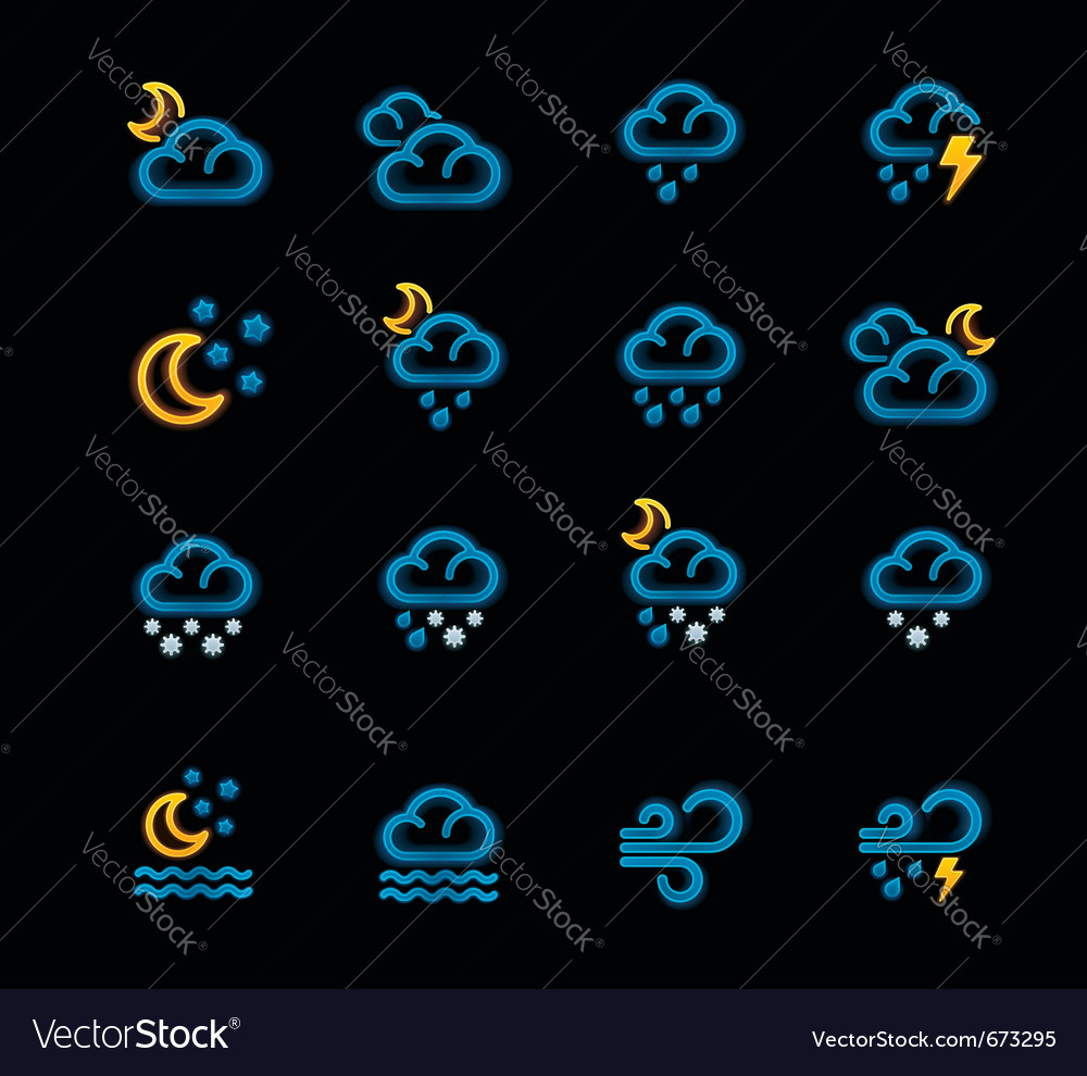 Weather forecast icons - night vector | Price: 1 Credit (USD $1)